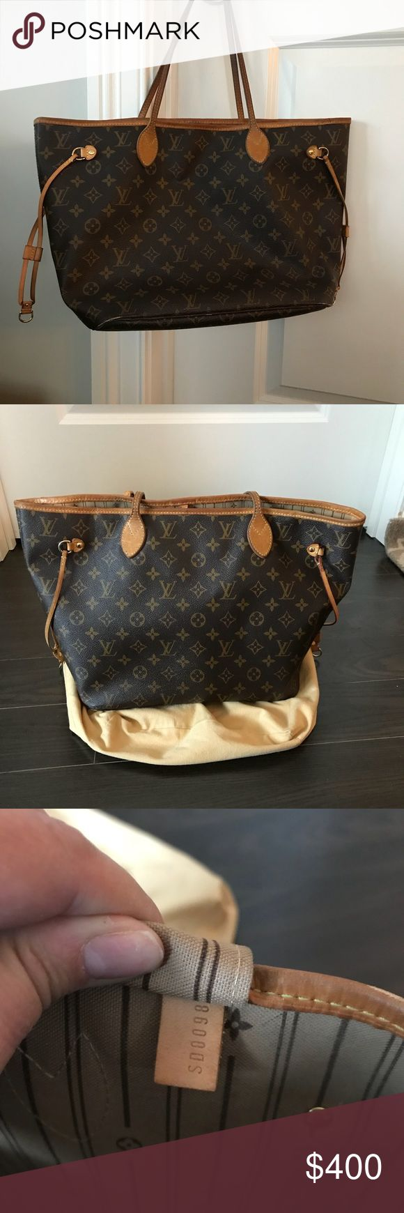 Louis Vuitton Neverfill Louis Vuitton medium neverfill purse with dust bag. Authentic. Very loved, lots of travel. Purchased in 2007.  Wear and tear pictures including handle, the bottom (all 4 sides), peeling in the pocket and ink marks inside the purse. Please email with questions. Louis Vuitton Bags Shoulder Bags