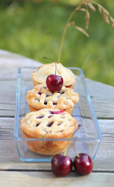 Mini Cherry Pies - or any mini pie. made in a cupcake tin..... don't go buy expensive products, this works, and you have a much better chance of getting them out whole if you use a teflon cupcake pan