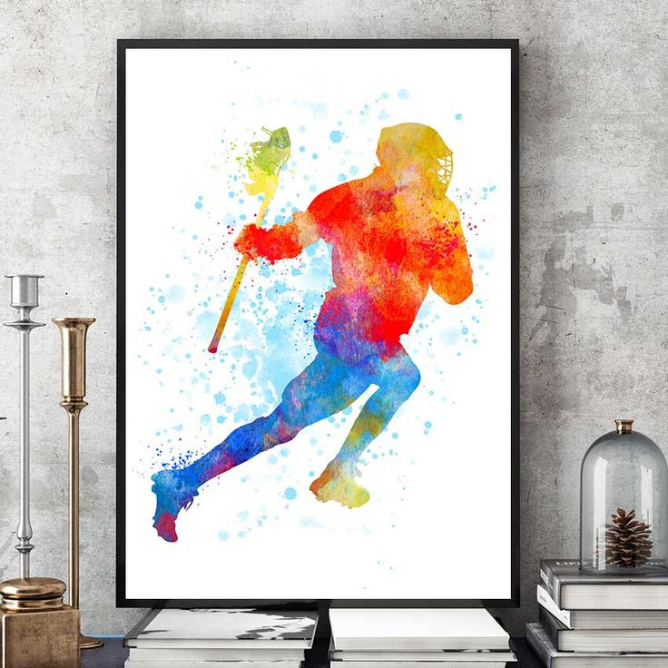 Lacrosse Gifts Print, Lacrosse Player, Watercolour Prints, Sports Decor, Lacrosse Wall Art, Kids Gift, Team Player (N001) by PointDot on Etsy