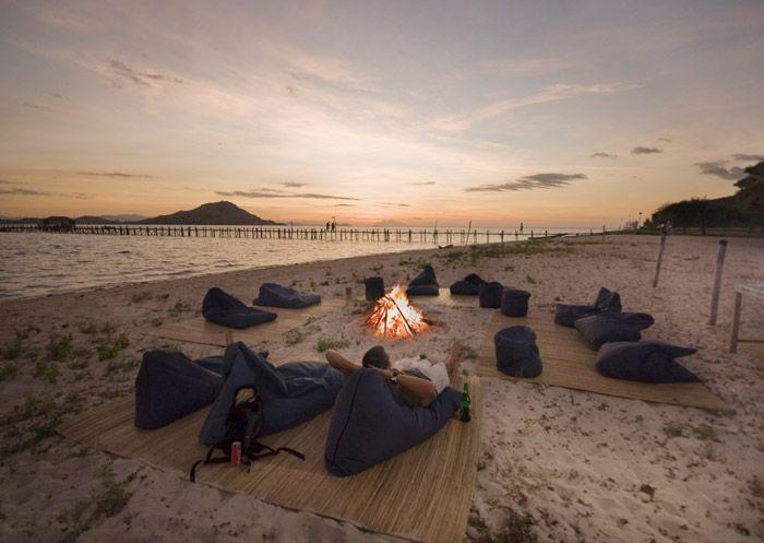 Lazing comfortably on the scenic beach of Kanawa Island Resort, Flores.