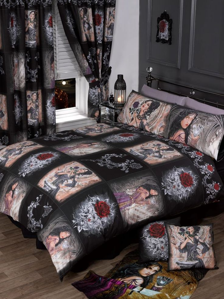 STUNNING NEW GOTHIC ALCHEMY STORY OF THE ROSE DOUBLE BED DUVET COVER BED SET