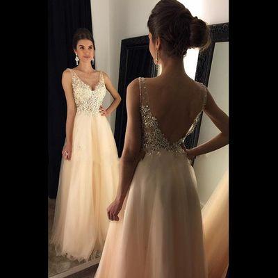 Backless V-Neck Long Prom Dress,Evening Dress,Charming Prom Dresses,BG104