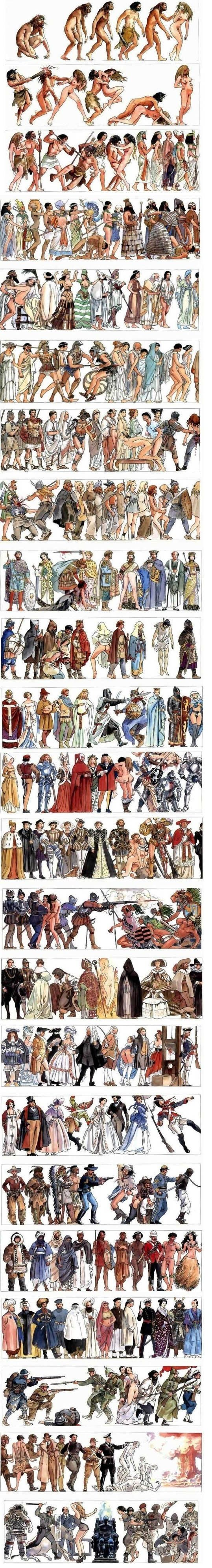 """Milo Manara's """"History of Humankind"""".--- This is so grim. Since the beginning of time everyone has been killing everyone else and the women are just getting fucked."""