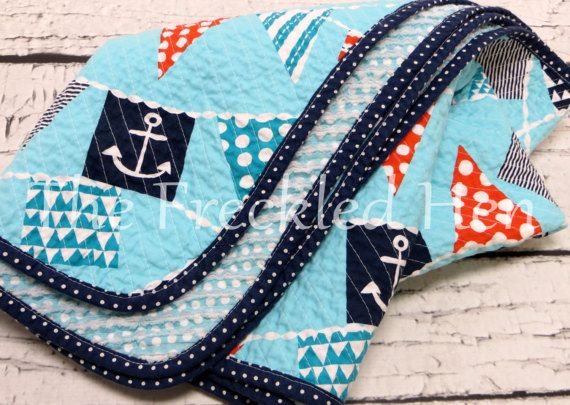 Faux chenille handmade baby boy nautical blanket by FreckldHen
