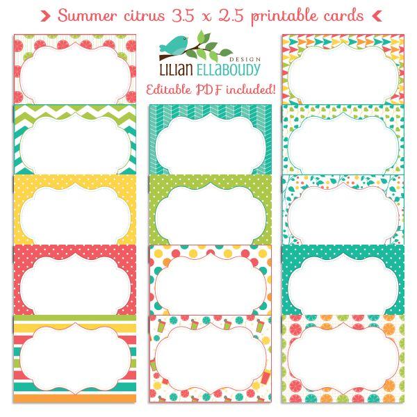 Summer citrus editable PDF cards