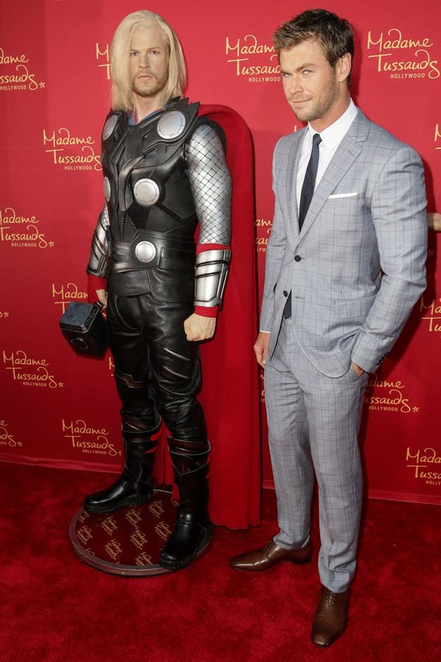 And his face kind of says it all. | Chris Hemsworth's Wax Figure Looks Nothing Like Him