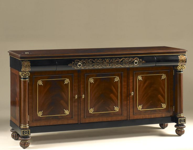 Tv Stand Mahogany And Black Lacquer Finished With