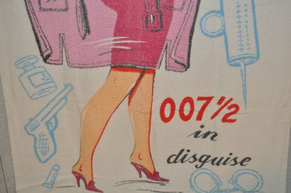 MidCentury Secret Agent 007 James Bond Beach Towel Risque Pin Up Girl