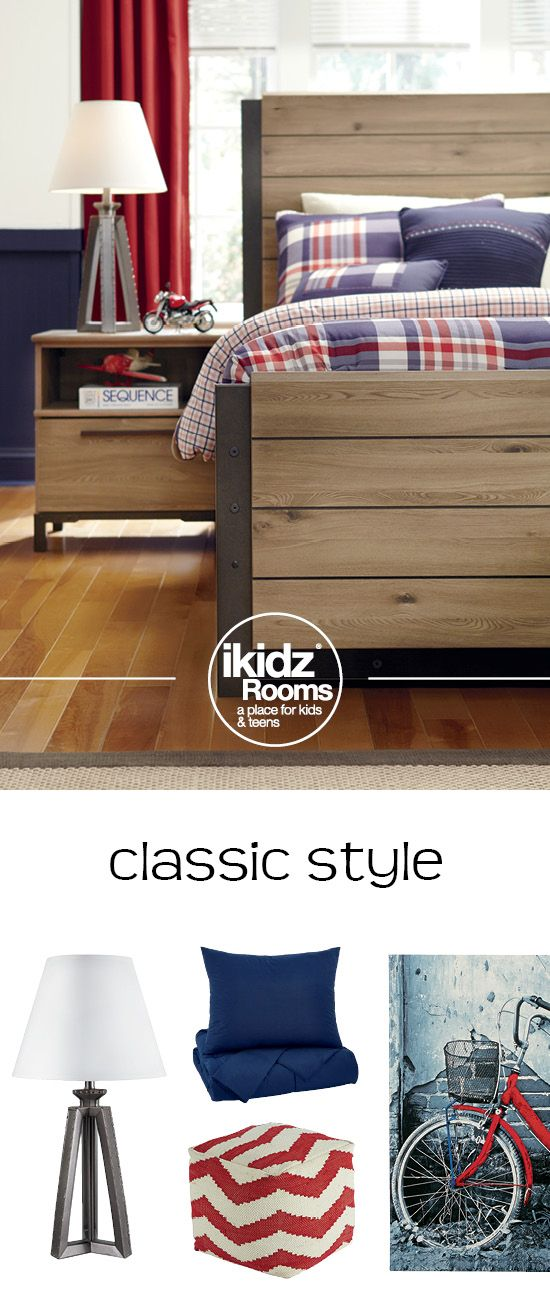Get that classic look by mixing red, white, blue and wood textures! Dexifield Bedroom - iKidz Rooms® - Kids, Teen and Youth Bedroom Furniture and Accessories - #KidsRooms #Bedroom