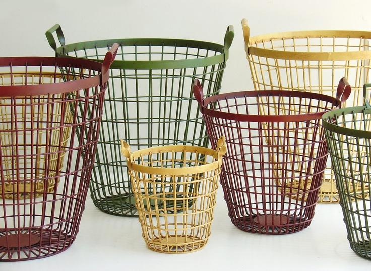 colorful metal baskets