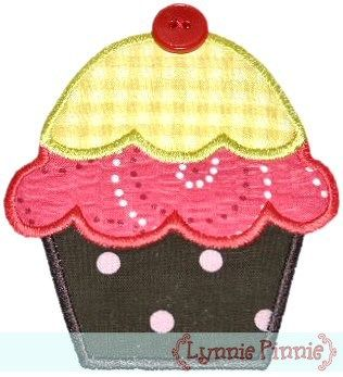 Free cup cake applique  Patterns  | Applique Cupcake 4x4 & 5x7 6x10