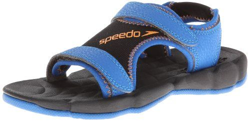 Speedo Grunion-Kids Water Sandal (Little Kid/Big Kid). Soft mesh sandal featuring faux-leather overlays, contrast stitching, and dual hook-and-loop straps. Textured footbed. S-TRAC TPR water dispersion outsole.