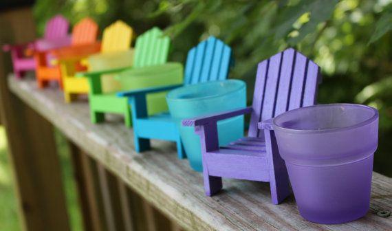 1 miniatuur strandstoel met bijpassende Frosted votief houder, poppenhuis miniaturen, miniatuur stoel strand bruiloft decoratie