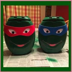 Turn Empty Tide Pod Containers into Ninja Turtle Valentine's Day Boxes