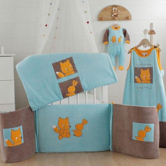 Tema REGIS & NICOLAS #cuarto #bebe #saquito #pijama #ropadecuna #conejito #zorro #naranja #azul #marron #kinousses