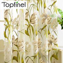 Top Finel Tropical Print Floral Semi Sheer Cortinas Da Janela Cortinas para Sala de estar Cozinha Quarto Impresso Flor de Tule(China (Mainland))