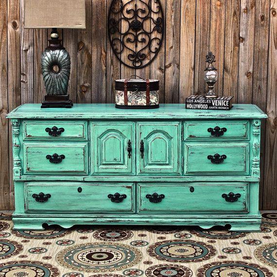 Aqua Dresser /Distressed Buffet /Shabby Chic by AquaXpressions, $499.00