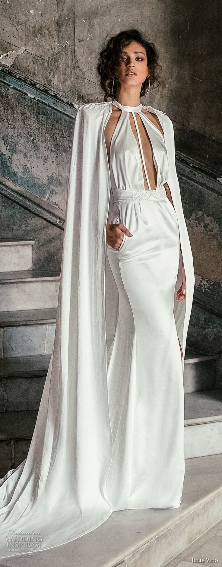 julie vino fall 2018 havana sleeveless jewel halter neck keyhole bodice simple clean elegant sexy chic sheath wedding dress with pockets open back chapel train (8) mv -- Julie Vino Fall 2018 Wedding Dresses