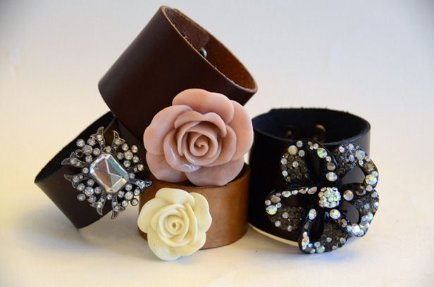 """DIY Leather cuff - my taste isn't quite as """"fancy"""" but could make with as much or little embellishment as you want"""