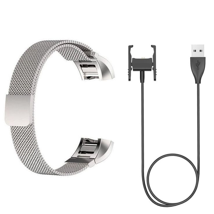 ECSEM Replacement Silver Milanese Loop Bands and Straps + Charger Clip for Fitbit Charge 2 Heart Rate Fitness Tracker. Replacement Milanese Loop Stainless Steel Metal Bands and Straps + Replacement Charging Charger Cable Compatible with Fitbit Charge 2 Heart Rate Fitness Tracker. Perfect Version: Perfect Fit for Fitbit Charge 2 (Tracker is NOT included). Premium stainless steel mesh milanese loop with unique magnet clasp design-- fashionable craftsmanship, durable, comfortable touch…