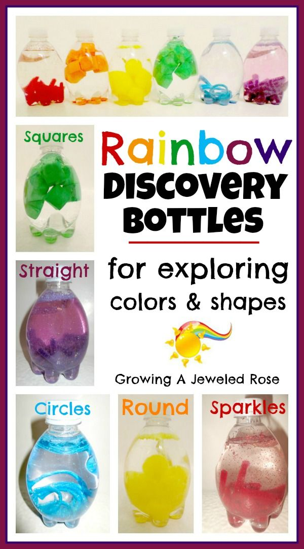 Rainbow Discovery Bottles ideal for learning coolurs children loves sensory bottle activity