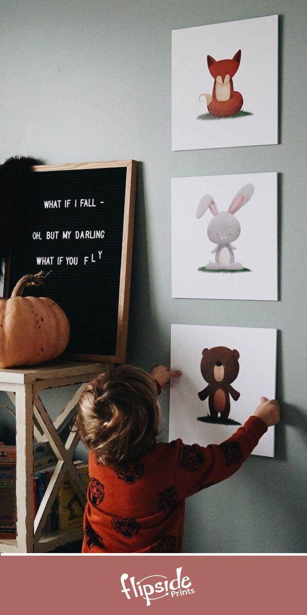 Flipside Prints | Woodland forest animal wall art for neutral, rustic boys bedroom, playroom or nursery
