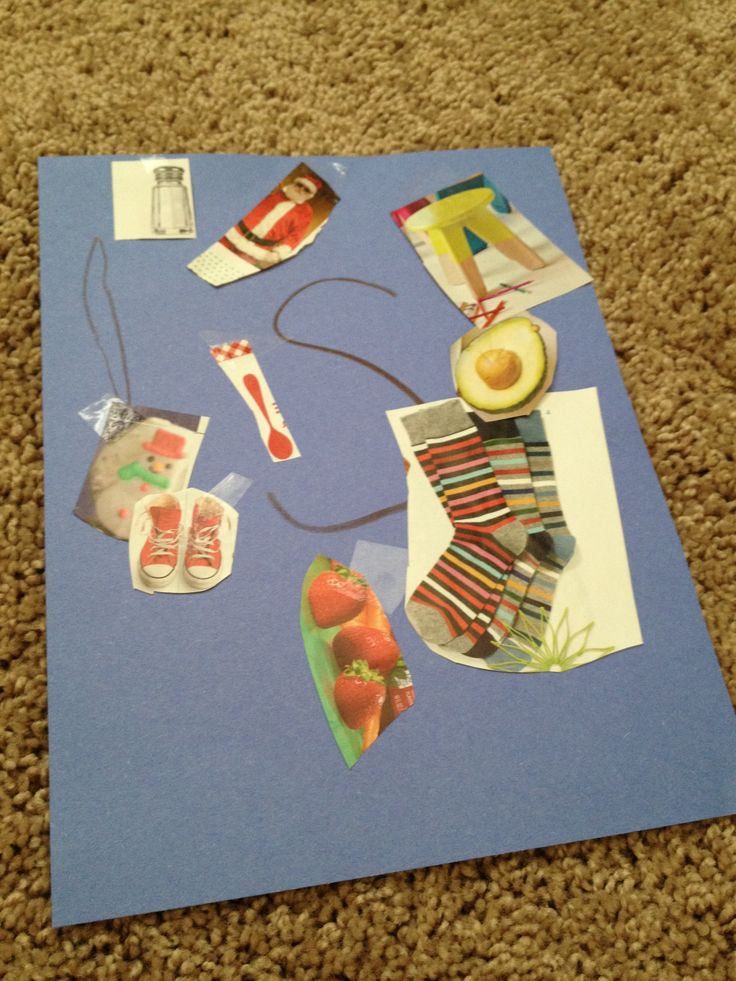 """LETTERS/PHONICS: find objects from magazines that start with the letter and tape to construction paper.  Can do this with multiple letters and pictures - """"Sock - what letter does sock start with?  s-s-sock.  what letter says sss?""""  Can also find objects in the house to collect or point to pictures in books."""