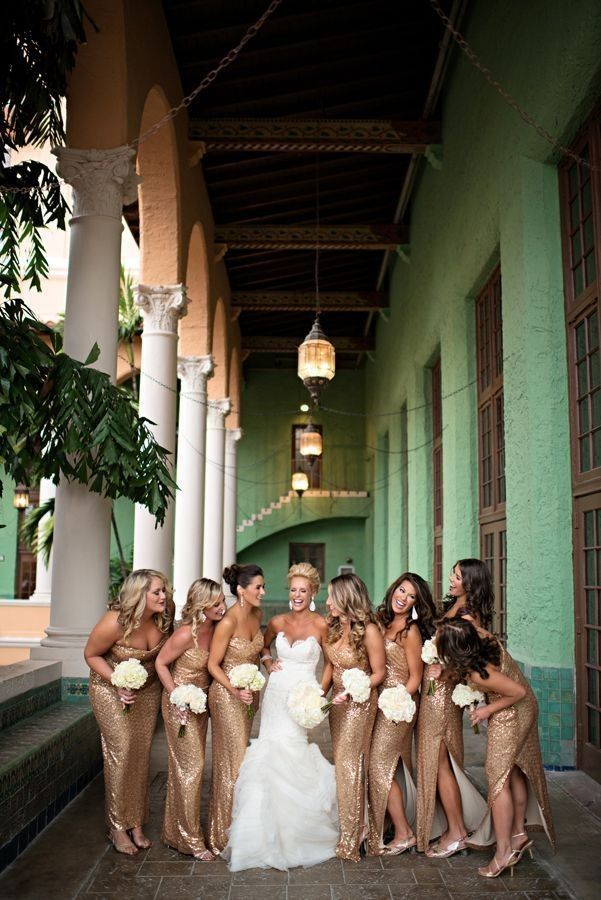 Glamorous Florida Wedding at the Biltmore from Kristen Weaver Photography - gold bridesmaid dresses