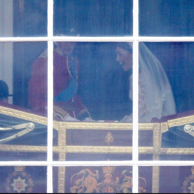 Precious picture ❤️❤️ taken through a window (?) as William and Kate get out of the carriage at Buckingham Palace. *I'm not sure where this picture was taken from, but that's the carriage and that's William and Kate. I don't believe it's photoshopped or fake.