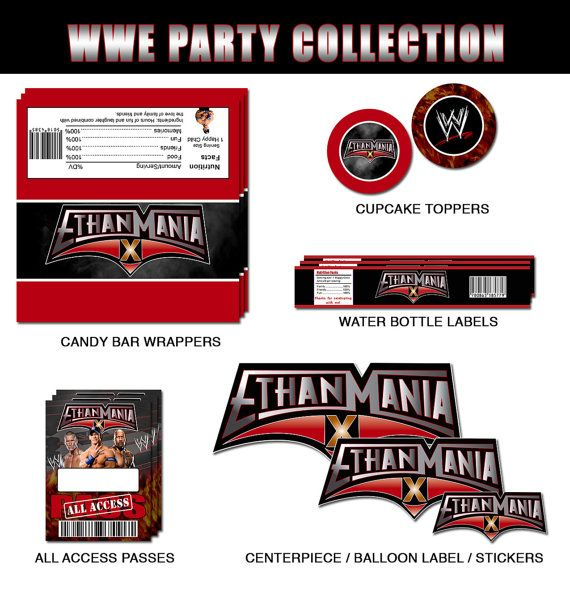WWE Wrestlemania Party Collection by RedVelvetParties on Etsy, $25.99