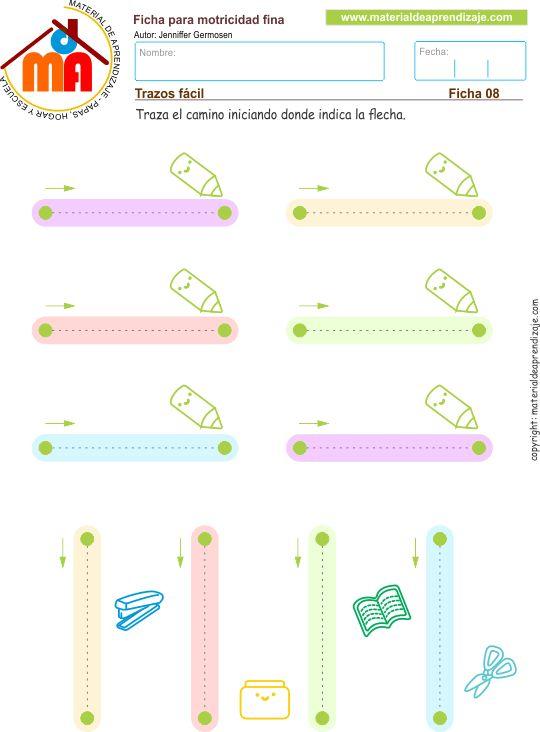 Practicamos trazos verticales, horizontales, rectos y cortos de izquierda a derecha y de arriba hacia abajo.