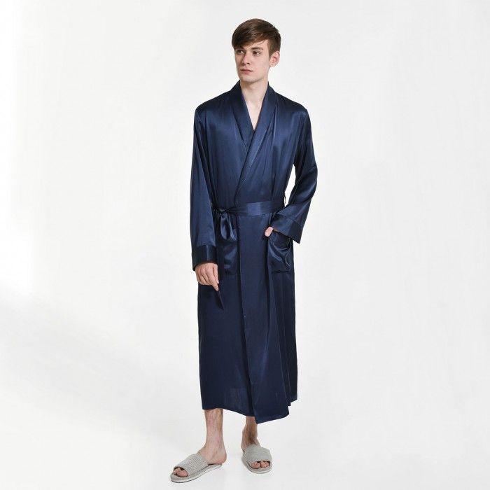 Mens Pure Silk Long Dressing Gown Bathrobe Pjs - OOSilk #silk #sleepwear #nightwear #dressinggown #robe #bathrobe #tops #shorts #pants #trousers #bottoms #pajamas #pjs #set #silky #soft #comfort #breathable #smooth #onlineshopping #women #female #sleep #fashion #womenfashion #ladies #camisole #nightshirt #chemise #nightgown #nightdress #nightie #slip #dress #bedroom