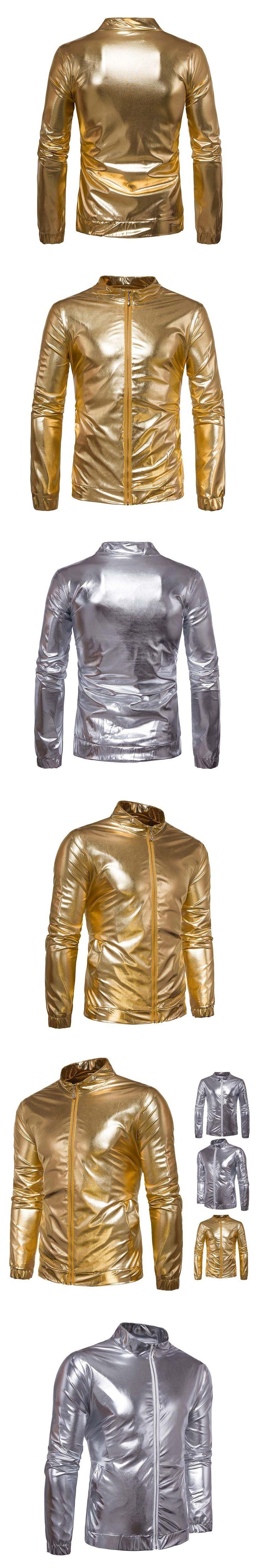 Fashion Men Shiny Jacket Coated Metallic Hip Hop Jackets Night Club Wear Outerwear Coat -MX8