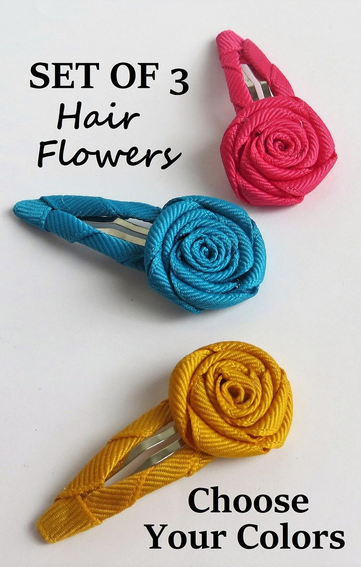 A set of 3 flower hair clips. Get the colors pictured, or choose your own colors. Any color available. #hairaccessories #baby #girls #toddler