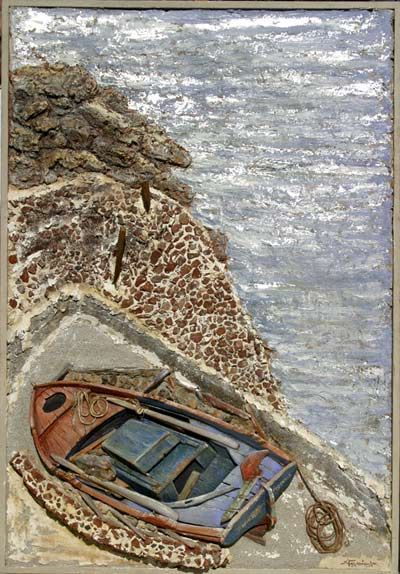 Yet another wonderful Galanopoulos painting.  Oia, Santorini Island, Greece www.oiamansion.com