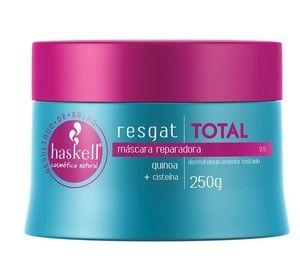 Máscara Reparadora Haskell Resgat Total Quinoa + Cisteína 250g Os cabelos danificados por processos químicos e agressões externas sofrem com a perda da umidade e nutrientes, o que os torna menos flexíveis e mais sujeitos a quebra. Para reparar esse tipo de cabelo, a Haskell criou a linha Resgat Total.
