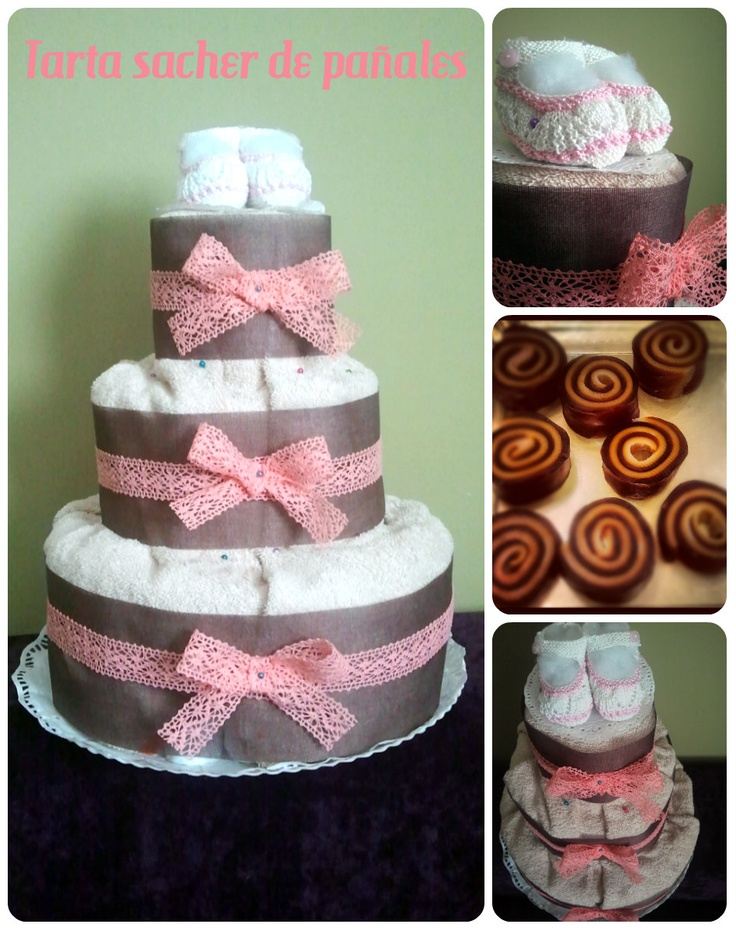Tarta de pañales chocolate y fresa / Diaper cake strawberry & choco