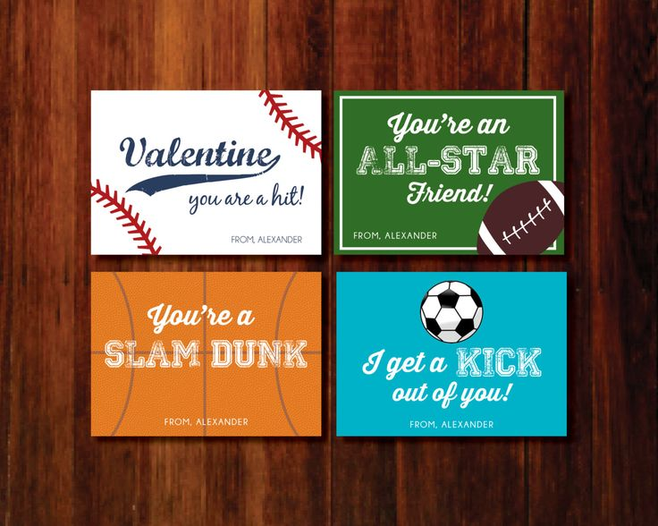 Valentine Printable Cards - sports baseball soccer football basketball by polkaprints on Etsy https://www.etsy.com/listing/174860796/valentine-printable-cards-sports