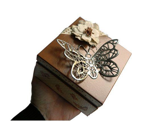 Wooden trinket box decoupage jewellery box by Loutul on Etsy