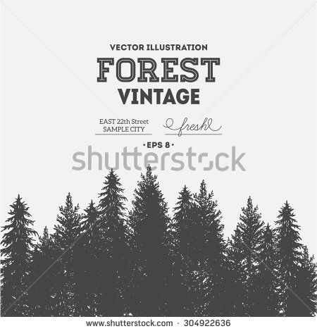 Vintage forest design template. Vector illustration - stock vector