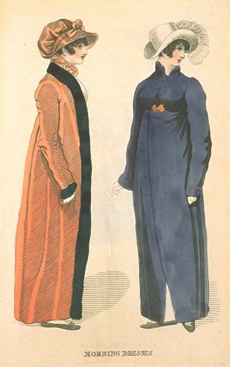 Women wearing pelisse usually worn in the winter and also wearing bonnets