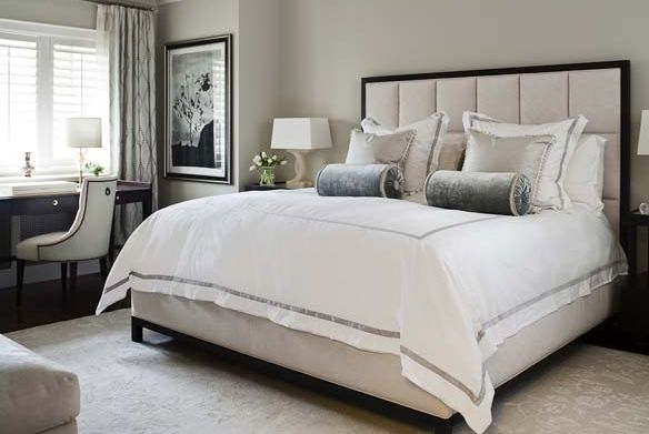 bedrooms - padded bed headboard hotel bedding blur gray velvet pillows espresso desk tufted chair blue silk drapes  Chic, elegant hotel-like