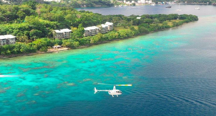view of Port Vila from a helicopter