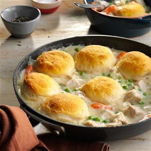 Turkey Biscuit Stew Recipe from Taste of Home -- shared by Lori Schlect of Wimbledon, North Dakota