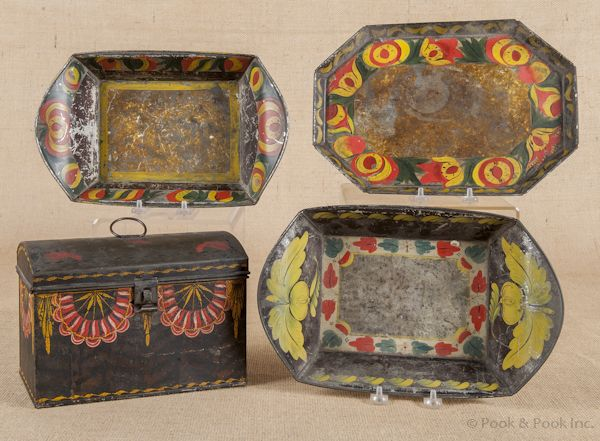 """Swag decoration ~ dome lidded tole decorated tin document box, early 19th c., 6 1/2"""" h., 9 1/2"""" w."""