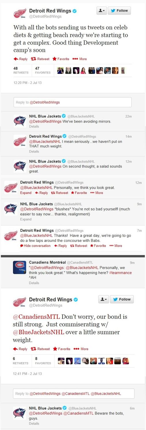 Blue Jackets and Detroit Red Wings Team-mance....Canadiens had to get in on it too..