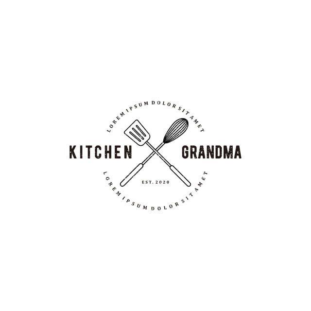 Grandma Kitchen Logo With Cooking Equipment Elements A Manual Mixer And A Spatula Restauarant Logo In 2020 Kitchen Logo Recipe Book Design Cooking Logo