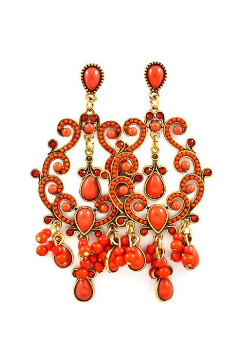coral chandelier earrings <3