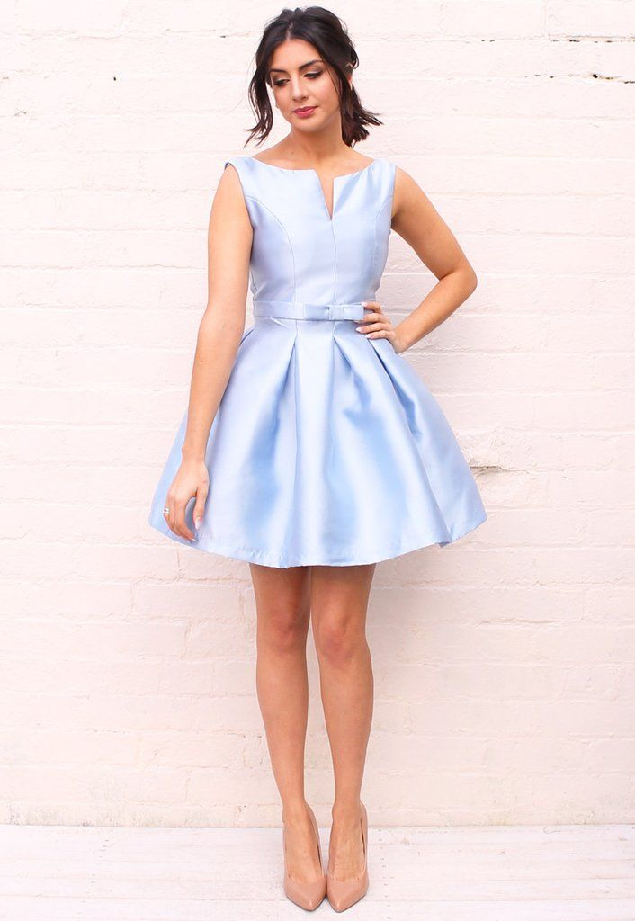 Structured Satin Jackie O Fit & Flare Pleated Skirt Dress in Baby Blue - One Nation Clothing - One Nation Clothing - 1