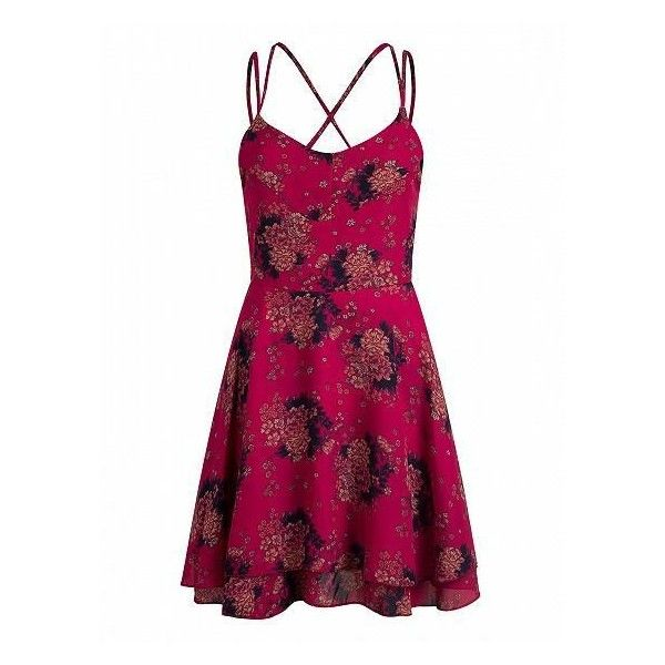 Red Floral Print Cross Strappy Back Mini Skater Dress ($50) ❤ liked on Polyvore featuring dresses, mini skater dress, floral print skater dress, strappy dress, floral printed dress and red strappy dress